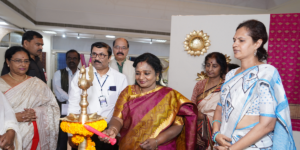 Ikebana enthusiasts in Hyderabad present a novel exhibition of Ikebana and Indian textiles titled  'Blooms & Looms' in eulogy of Women's Day