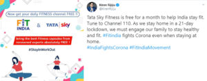 Minister of State for Youth Affairs & Sports Kiren Rijiju recognizes Tata Sky's initiative of providing free access to Tata Sky Fitness amid COVID-19outbreak